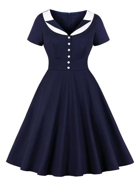 Milanoo Vestido retro Botines de mujer de dos tonos azul marino oscuro Vestido corto de manga corta