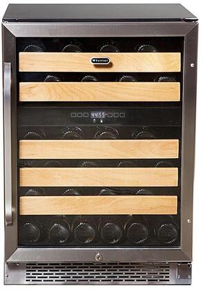 BWR-462DZ 24 Dual Zone Wine Cooler with 46 Bottle Capacity  5 Wooden Shelves  Temperature Memory Function and Tempered Double-Gray UV Protected