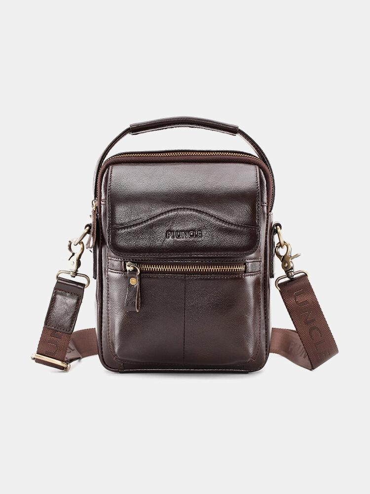 Men Genuine Leather Multi-Layers Crossbody Bag Shoulder Bag