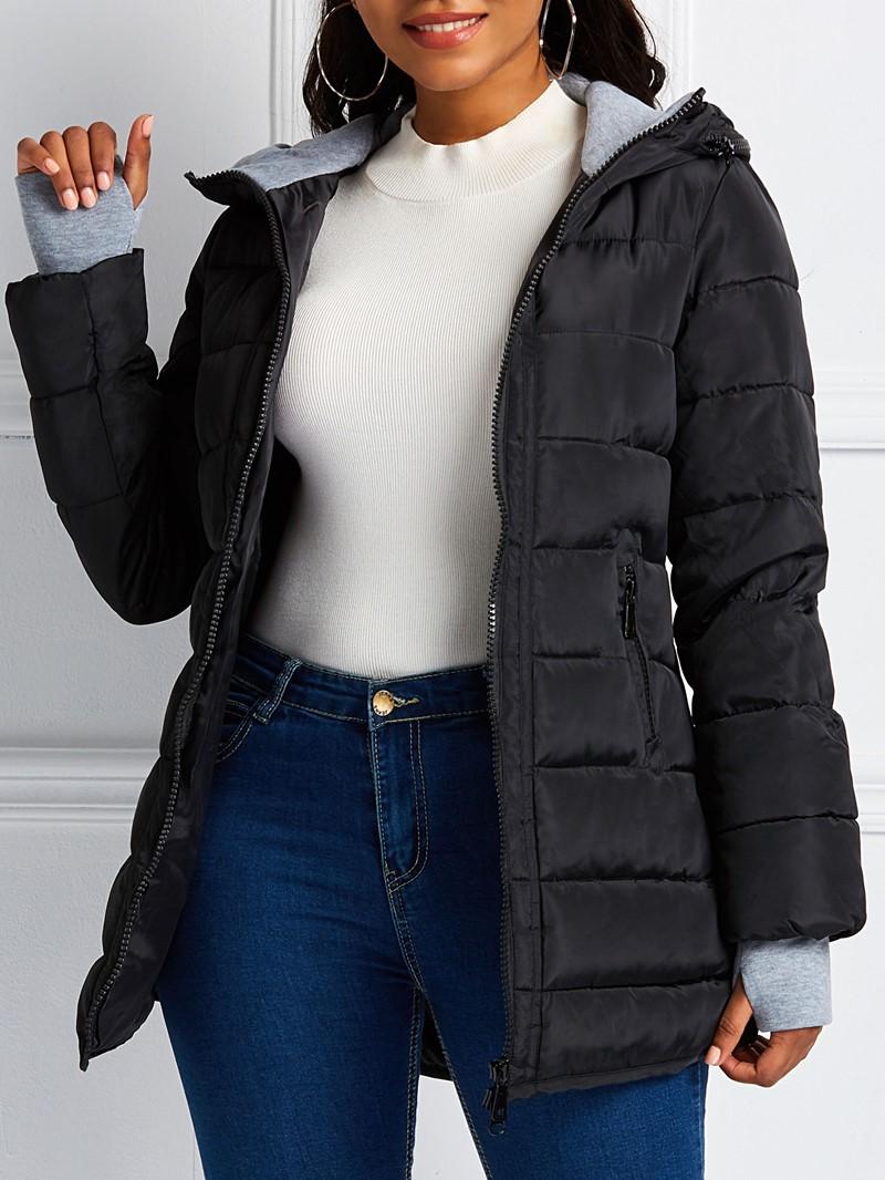 Ericdress Pocket Zipper Slim Mid-Length Cotton Clothes