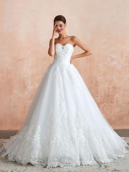 Milanoo Wedding Dress Princess Silhouette Sweetheart Neck Sleeveless Natural Waist Bridal Gowns With Train