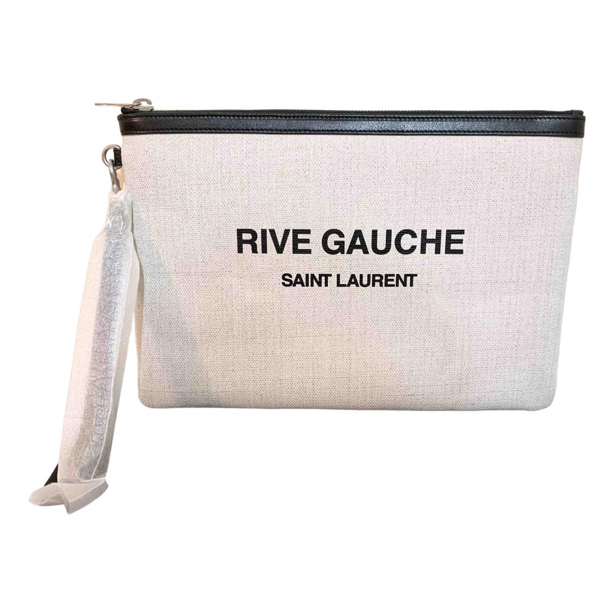 Saint Laurent - Pochette   pour femme en coton - ecru