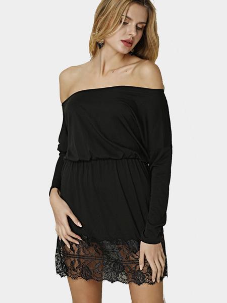 Yoins Black Lightweight Bateau Collar Stitching Lace Hem Dress