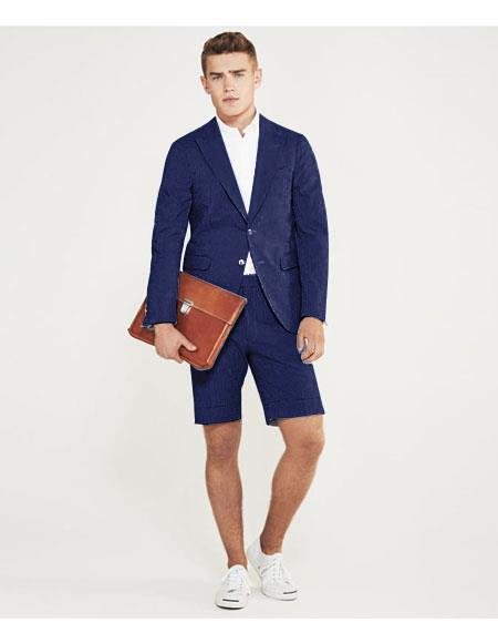 men's summer business suits with shorts pants set Navy Blue