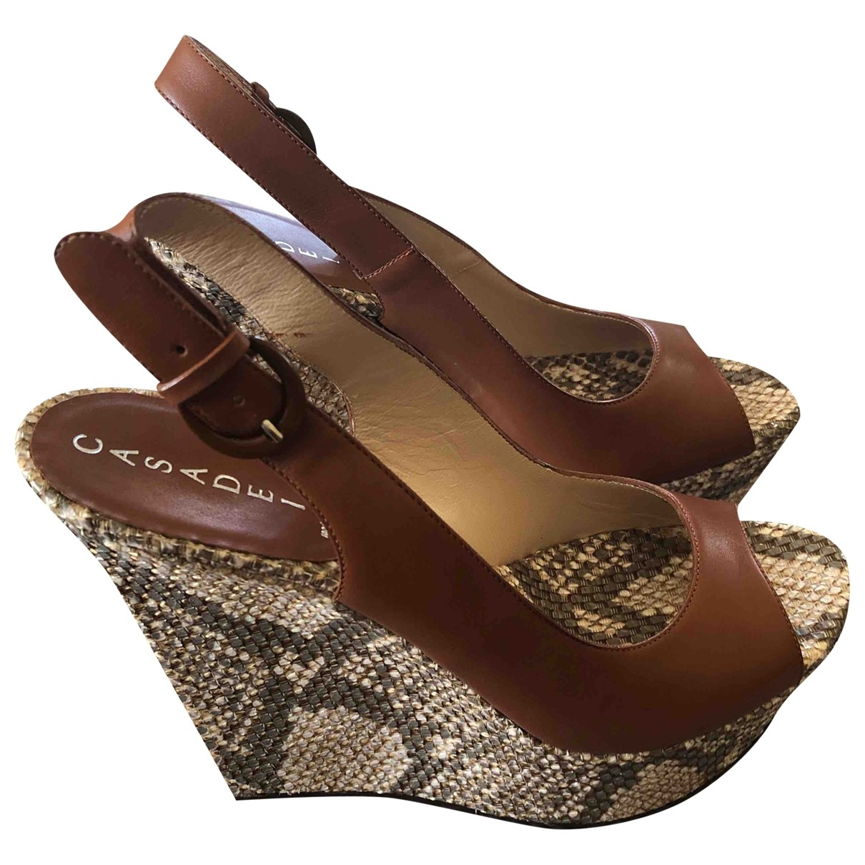 Casadei \N Brown Leather Sandals for Women 39.5 EU