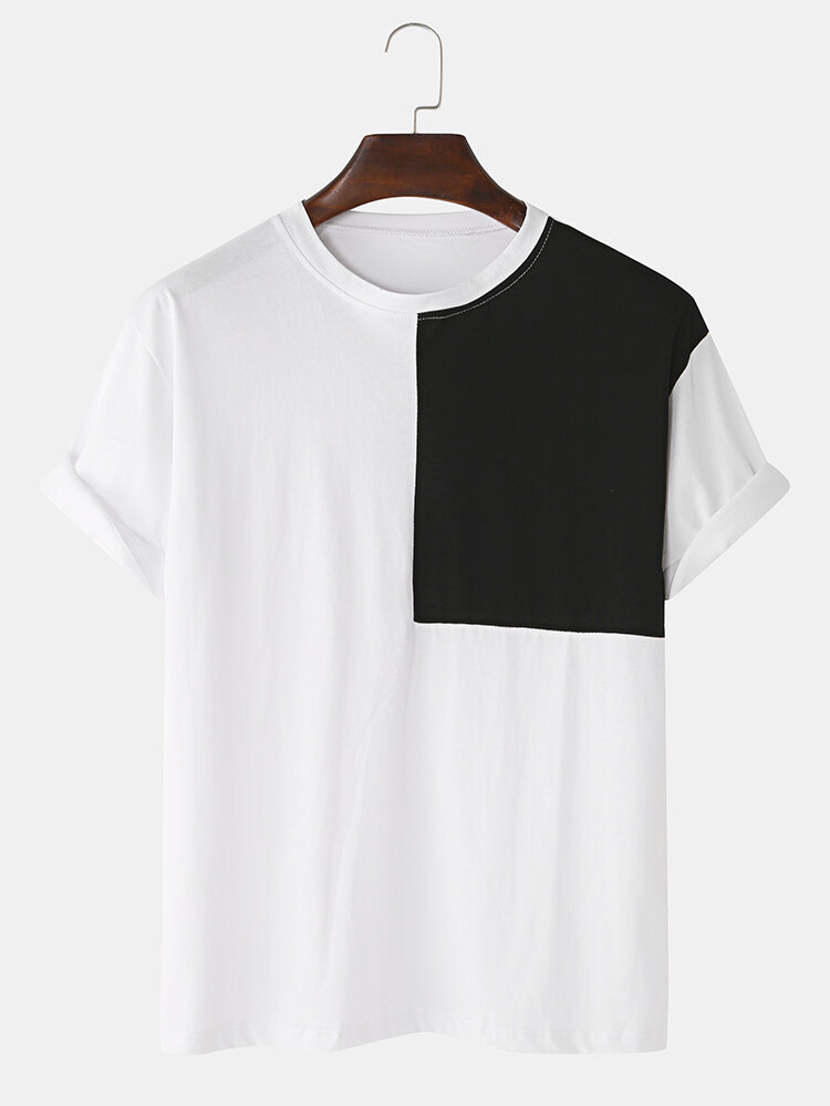 Mens Colorblock Patchwork Casual Loose Round Neck Light T-Shirts