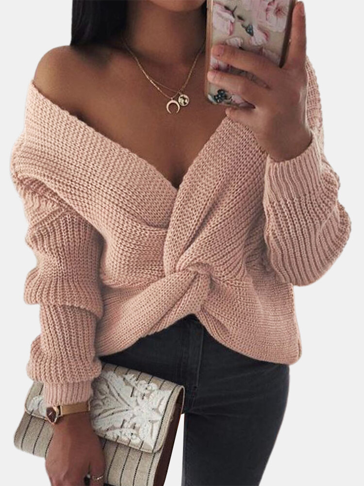 Solid Color Long Sleeve Off Shoulder Pleated Sweater For Women