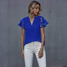 Blusas Malla en contraste Liso Azul electrico Casual