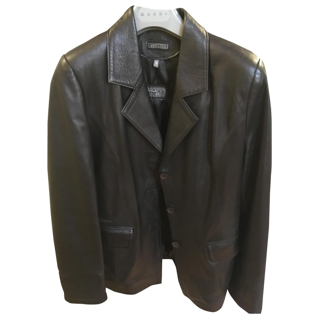 Versace - Blouson   pour femme en cuir - noir