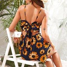 Cut Out Tie Back Sunflower Print Cami Jumpsuit