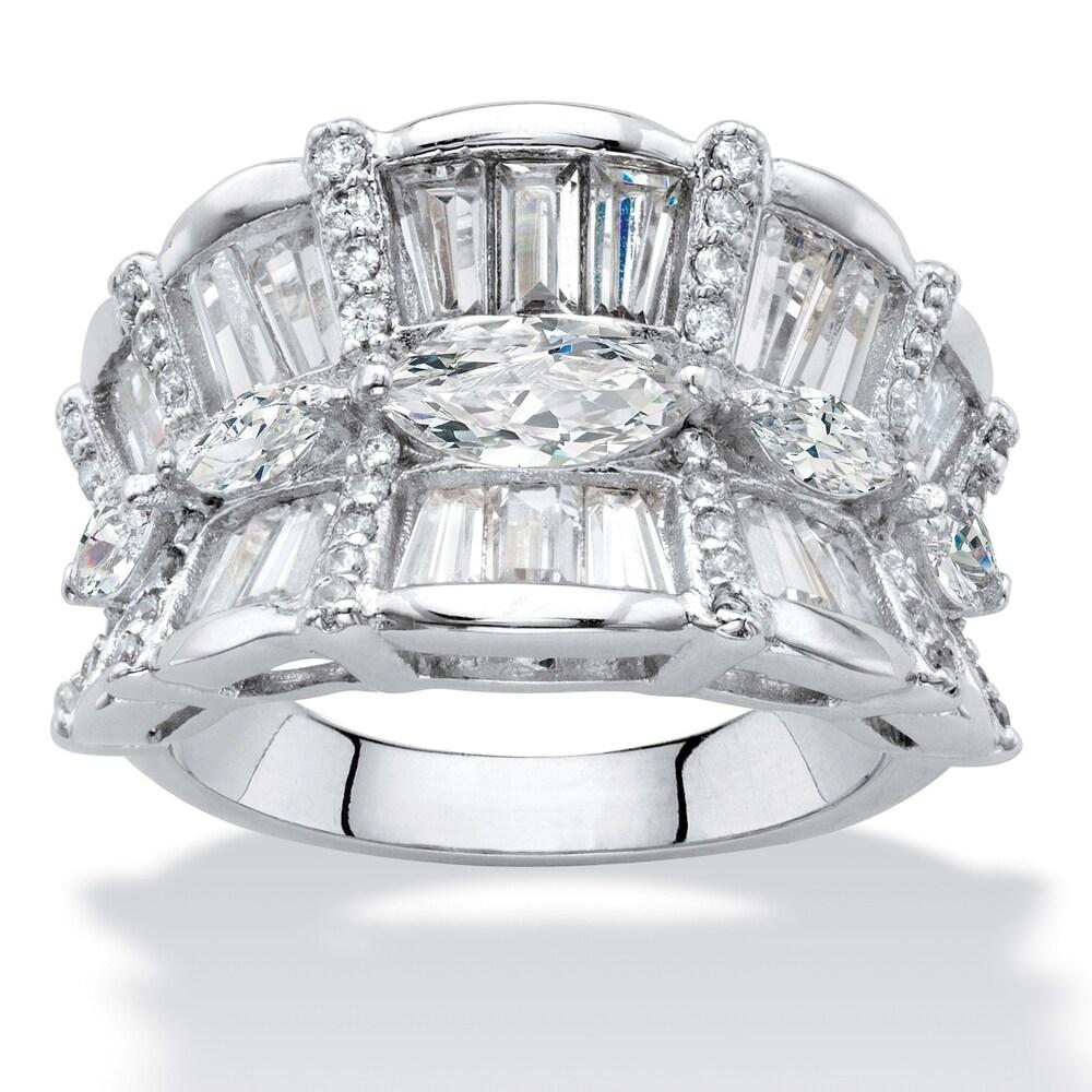 Platinum-Plated Cubic Zirconia Ring (10)