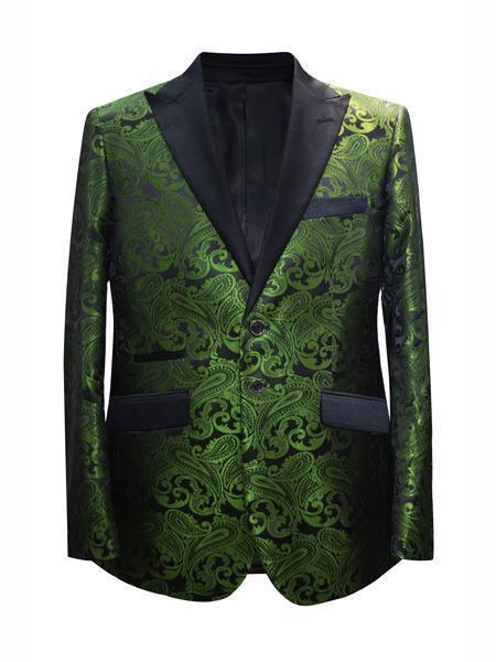 Cheap Mens Printed Flower Jacket Prom modern Tux Dark Green ~ Hunter