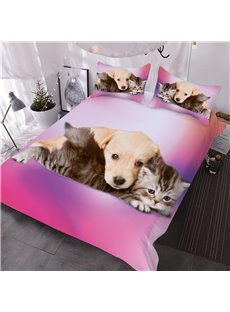 Puppy and Cat Good Friends 3D Printed 3-Piece Comforter Sets All-Season Ultra-soft Microfiber No-fading