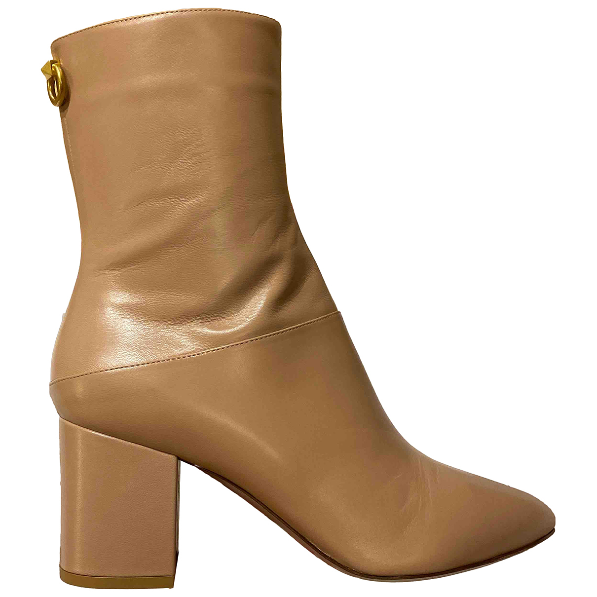 Valentino Garavani - Bottes   pour femme en cuir - beige