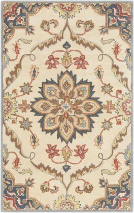 Caesar CAE-1206 10' x 14' Rectangle Traditional Rug in Rust  Denim  Tan  Sage  Khaki