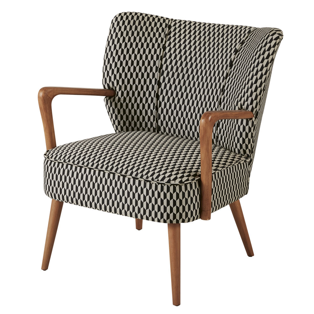 Vintage-Sessel mit schwarzen und weissen grafischen Motiven Meyer