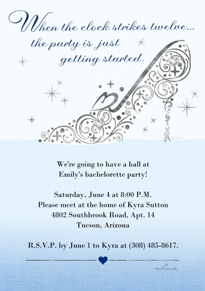 Wedding Shower Invitations 5x7 Cards, Premium Cardstock 120lb with Scalloped Corners, Card & Stationery -Disney Cinderella Bachelorette Party