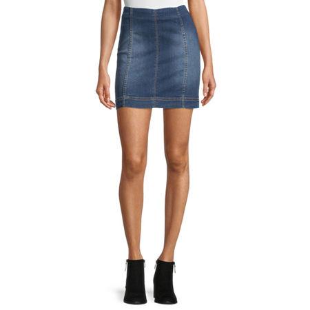 Rewind Womens Denim Skirt-Juniors, 13 , Blue