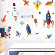Spaceship Print Wall Sticker