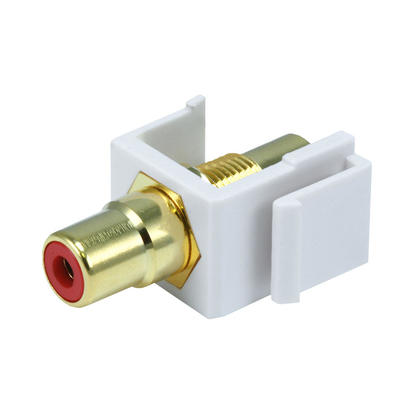 Modular RCA w/Red Center Keystone Jack - White - Monoprice®