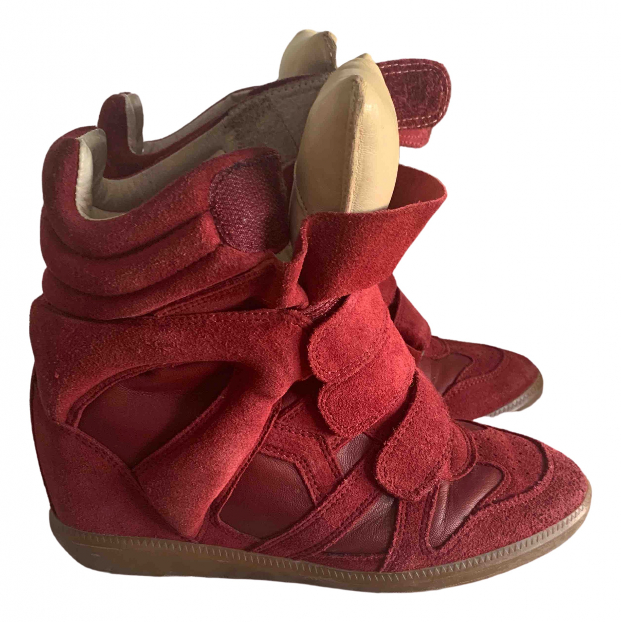 Isabel Marant Bayley Burgundy Suede Trainers for Women 37 EU