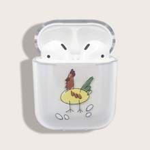 Chicken Cartoon Graphic Clear Airpods Case