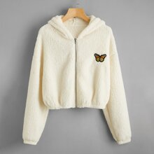 Butterfly Embroidery Zip Up Teddy Jacket