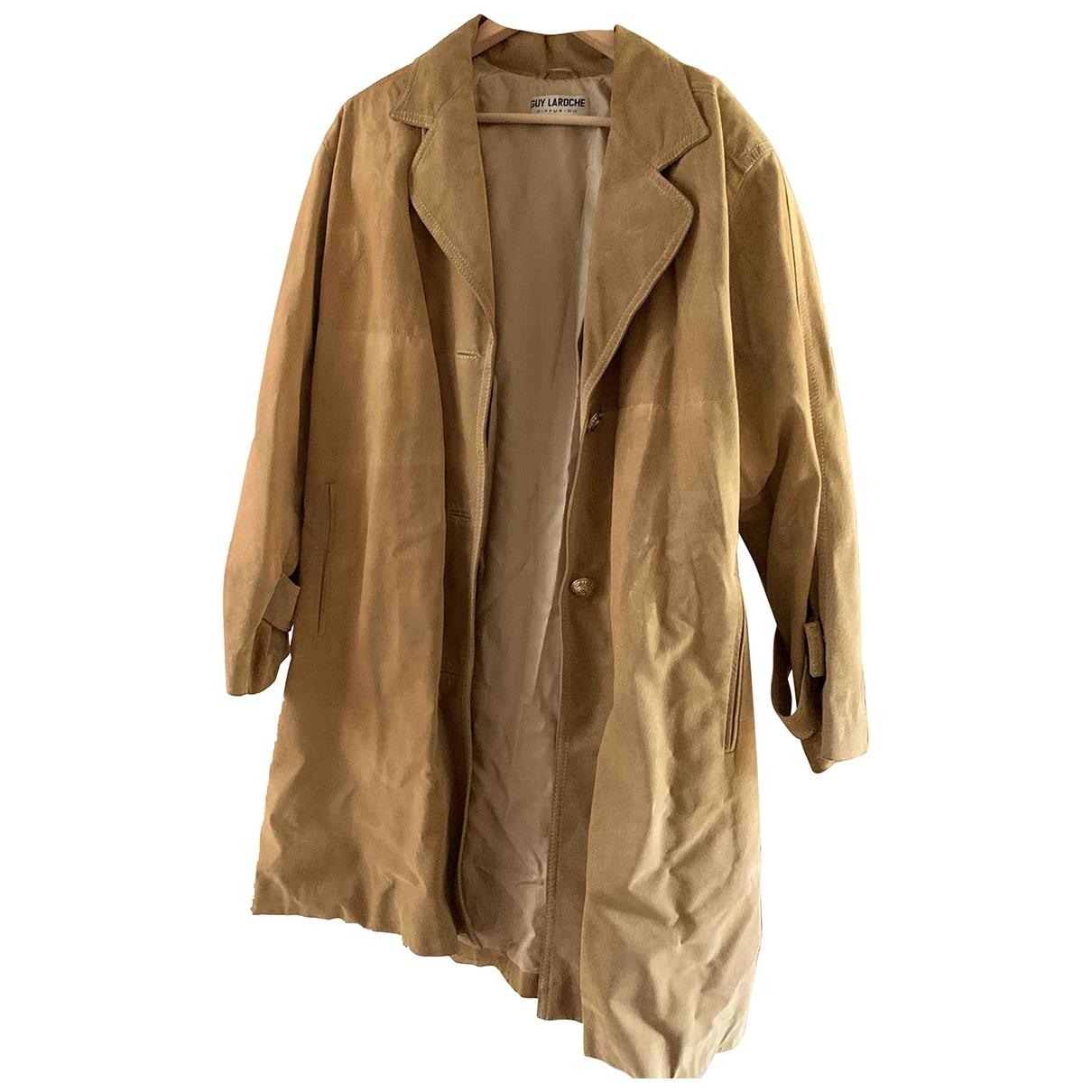 Guy Laroche \N Camel Leather coat for Women XXL International