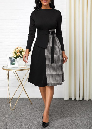 Black Dresses Buckle Detail Long Sleeve Contrast Dress - S