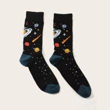 1 Paar Herren Planet Pattern Socken