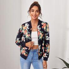 Jacke mit Blumen Muster, O-Ring und Reissverschluss
