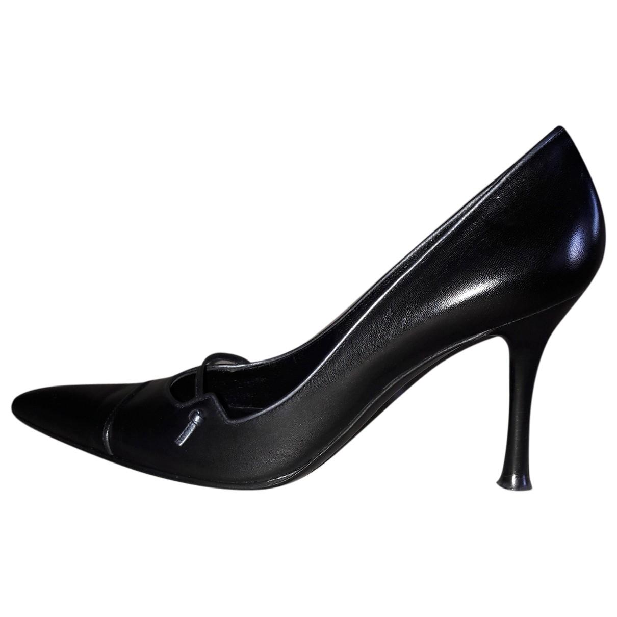 Sergio Rossi \N Black Leather Heels for Women 39.5 EU