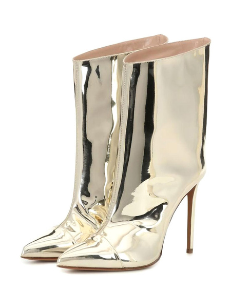 Milanoo Women Ankle Boots PU Leather Light Gold Pointed Toe Stiletto Heel High Heel Boots