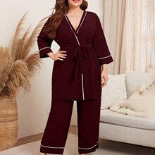 Robe mit Kontrast Bindung, Guertel & Hose Schlafanzug Set