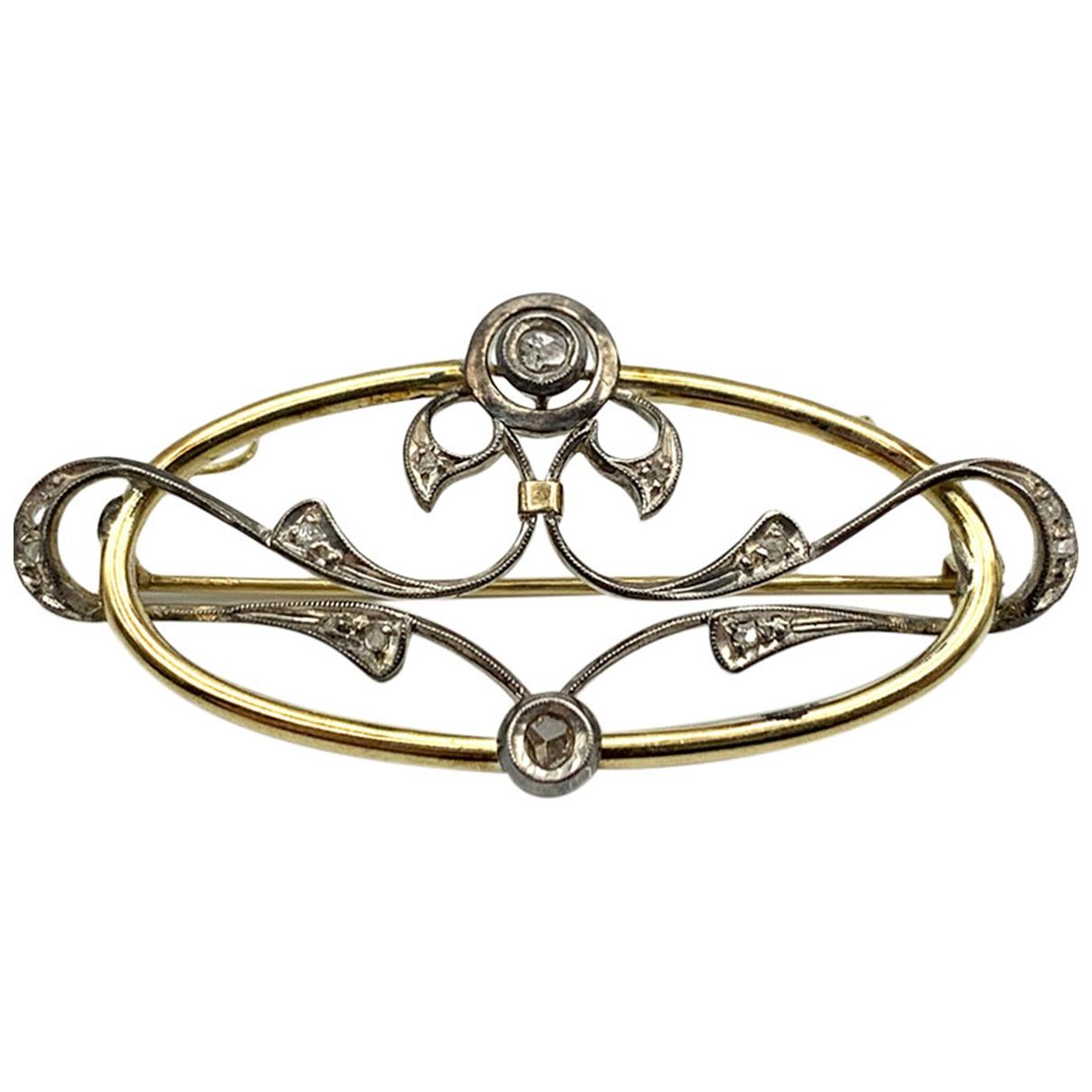 - Broche Art Deco pour femme en or jaune - dore