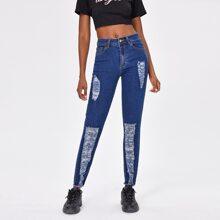 Jeans mit Reissverschluss und Riss