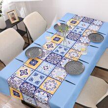 1pc Mexican Talavera Pattern Print Tablecloth