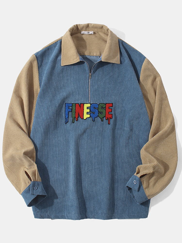 Mens Contrast Color Corduroy Fleece Letter Lapel Casual Zipper Sweatshirt