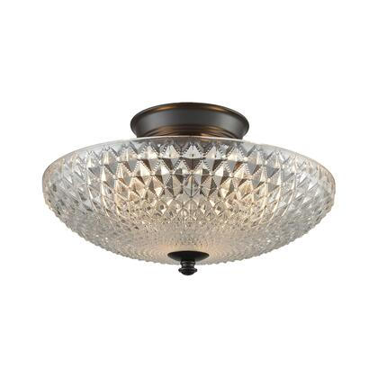 16042/3 Sweetwater 3 Light Semi Flush in Oil Rubbed Bronze with Clear Crystal