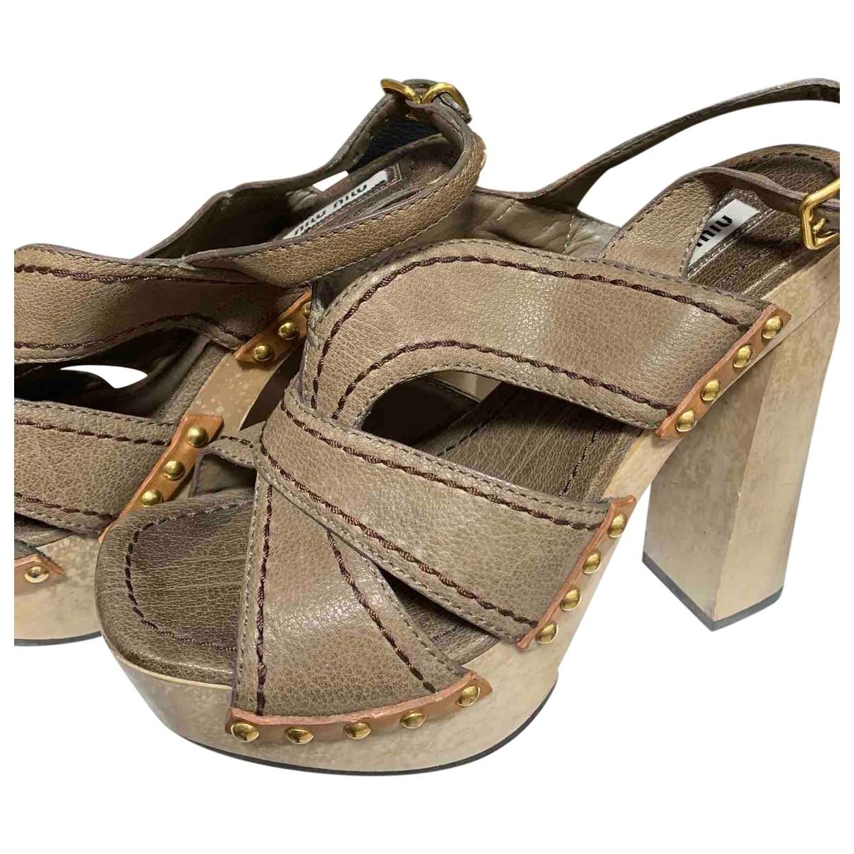 Miu Miu \N Brown Leather Sandals for Women 38 IT