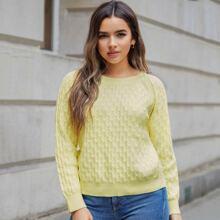 Texturierter Pullover mit Raglanaermeln