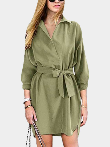 Yoins DarkKhaki Self-tie Waist V-neck Long Sleeves Dress