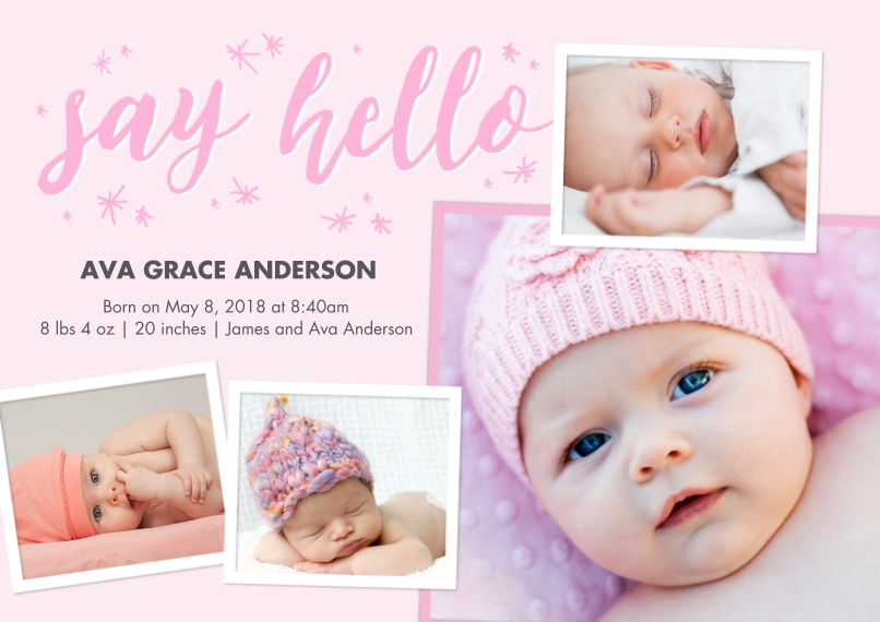 Baby Girl Announcements 5x7 Cards, Premium Cardstock 120lb with Elegant Corners, Card & Stationery -Baby Pink Hello