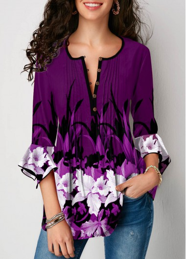 Purple Round Neck Button Up Flower Print Blouse - XL