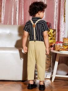 Toddler Boys Striped Shirt & Suspender Pants