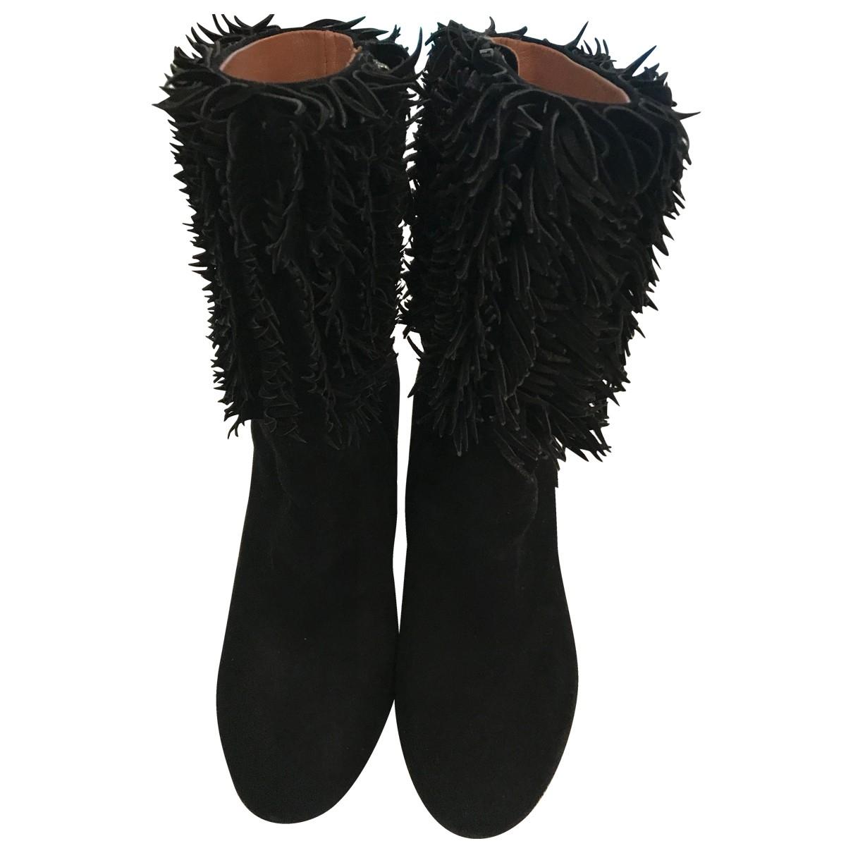 Alaia - Boots   pour femme en suede - noir