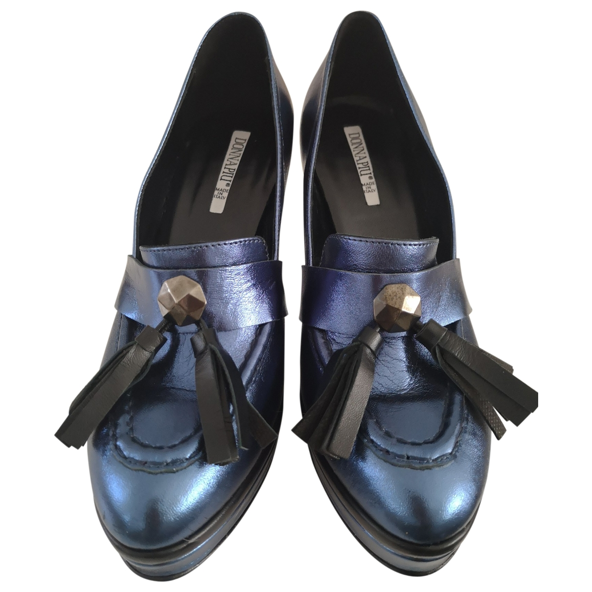 - Escarpins   pour femme en cuir - bleu