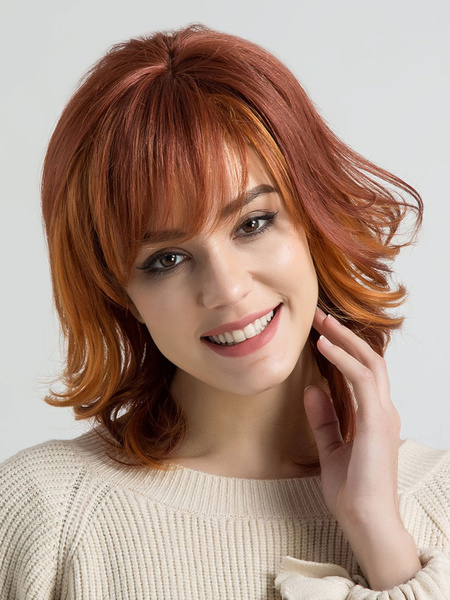 Milanoo Human Hair Wig Wavy Bouncy Side Swept Bang Layered Ombre Orange Women Natural Wig