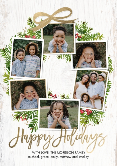 Holiday Photo Cards 5x7 Cards, Premium Cardstock 120lb, Card & Stationery -Holiday Festive Wreath by Tumbalina