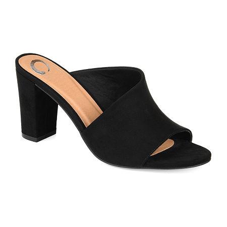 Journee Collection Womens Allea Slip-on Open Toe Mules, 8 1/2 Medium, Black